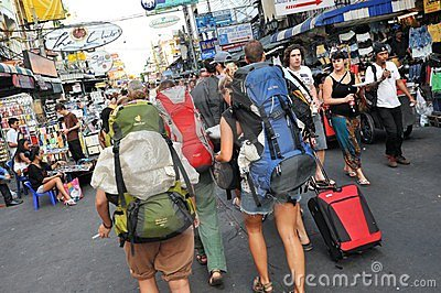 Tourists on Khao San Road in Bangkok Editorial Image