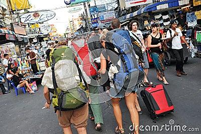Tourists on Khao San Road in Bangkok Editorial Image