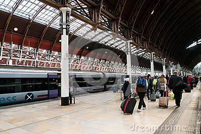 Tourists Leaving Paddington Station Editorial Stock Photo