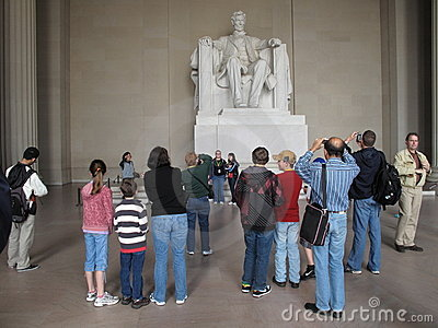 Tourists at the Lincoln Memorial Editorial Photo