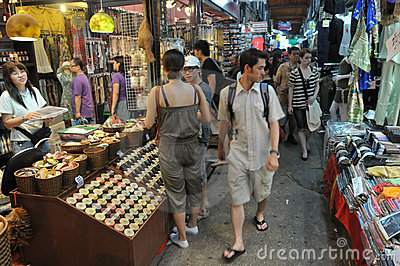 Tourists and Locals Shop at Chatuchak Market Editorial Photo