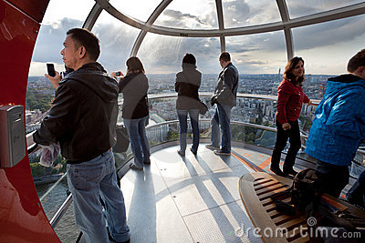 Tourists in the London eye cabin Editorial Photo