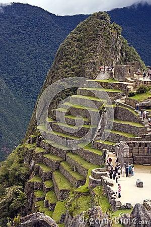 Tourists at Machu Picchu in Peru Editorial Stock Photo
