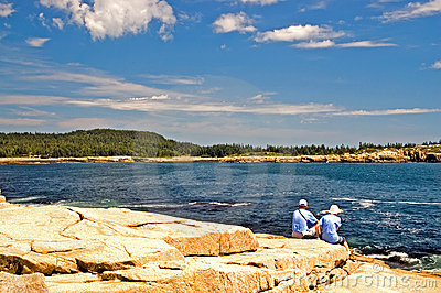 Tourists on Maine coastline