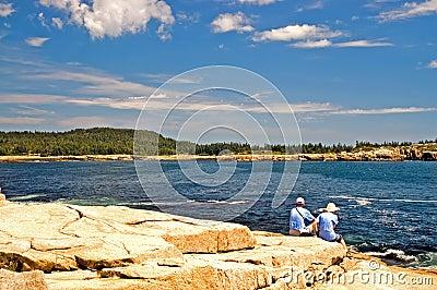 Tourists on Maine coastline