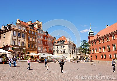 Tourists at the Marlet Square in Warsaw Editorial Image