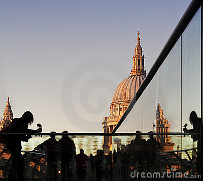 Tourists on Millennium Bridge, St Paul s, London