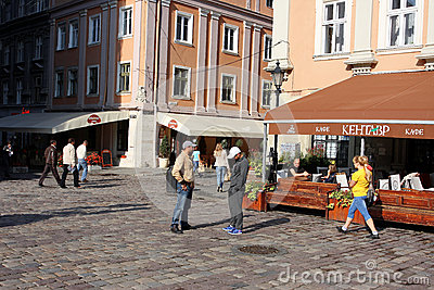 Tourists on the morning streets of old town Editorial Photography