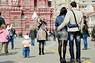 Tourists in Moscow Editorial Stock Photo