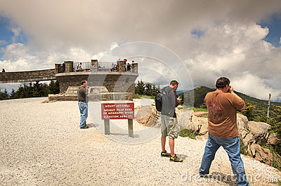 Tourists at Mount Mitchell North Carolina Editorial Stock Photo