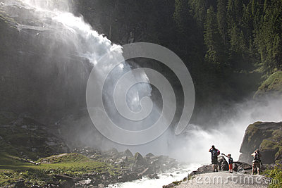 Tourists near Krimml Waterfalls in Austria Editorial Stock Image