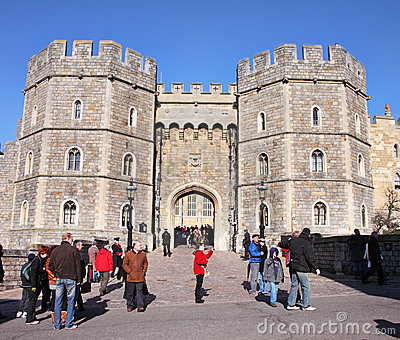 Tourists outside Windsor Castle in England Editorial Stock Photo