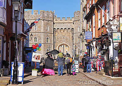 Tourists outside Windsor Castle in England Editorial Photo