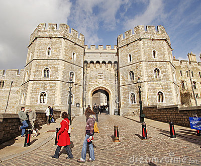 Tourists outside Windsor Castle in England Editorial Photography