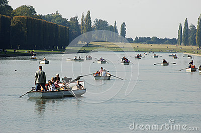 Tourists on boats at Versailles Editorial Stock Image