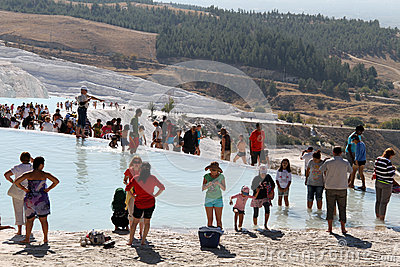 Tourists in Pamukkale Editorial Photo