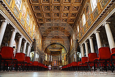 Tourists at Papal Basilica of Saint Mary Major