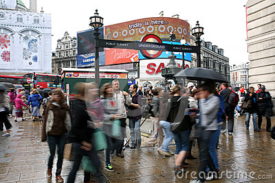 Tourists in Piccadilly Circus, 2010 Editorial Stock Image