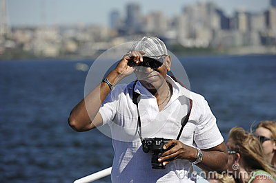 Tourists on a Pleasure Boat, Seattle, USA Editorial Stock Image