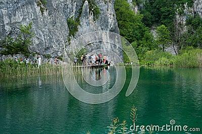 Tourists at Plitvice Lakes, Croatia. Editorial Stock Image