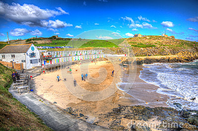 Tourists at Porthgwidden beach St Ives Cornwall England in HDR Editorial Stock Photo