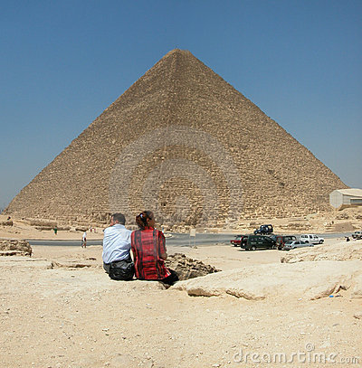 Tourists at the Pyramid of Khufu. Giza in Egypt