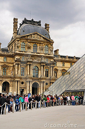 Tourists queuing for the Louvre Editorial Stock Image