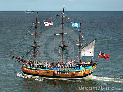Tourists on Replica Galleon - Whitby - England Editorial Stock Image