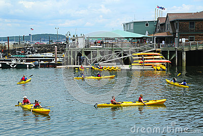 Tourists riding sea kayaks in Bar Harbor in  Maine Editorial Photo