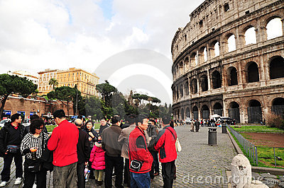 Tourists in Rome Editorial Stock Image