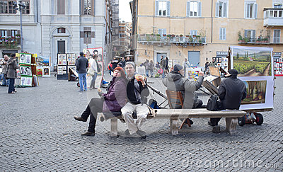 Tourists in Rome Editorial Photography