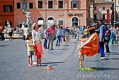 Tourists in Rome city Navona place on May 29, 2014 Editorial Stock Image