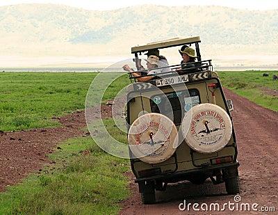 Tourists at a safari Editorial Stock Photo