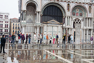 Tourists at Saint Mark Cathedral Venice Editorial Stock Image
