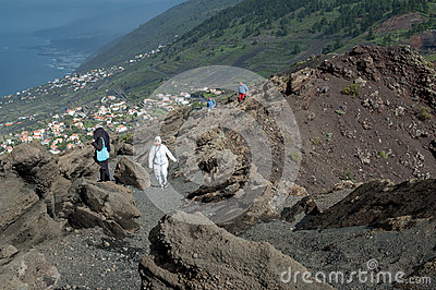 Tourists at San Antonio Volcano, La Palma, Canary Islands Editorial Photo