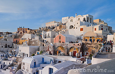 Tourists in Santorini Editorial Stock Image