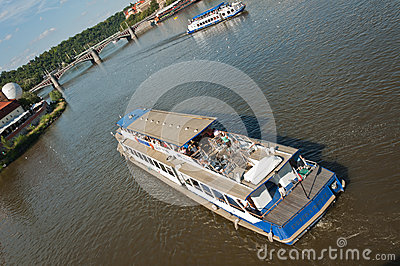 Tourists ships on the river Editorial Stock Image