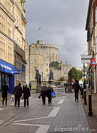 Tourists and Shoppers by Windsor Castle in England Editorial Stock Image