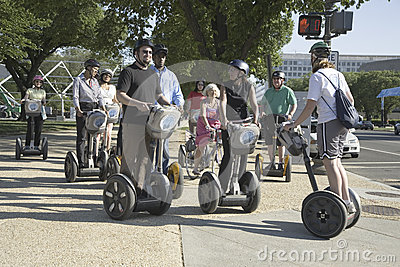 Tourists sightseeing on a Segway tour of Washington Editorial Image