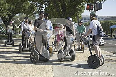 Tourists sightseeing on a Segway tour of Washington Editorial Image