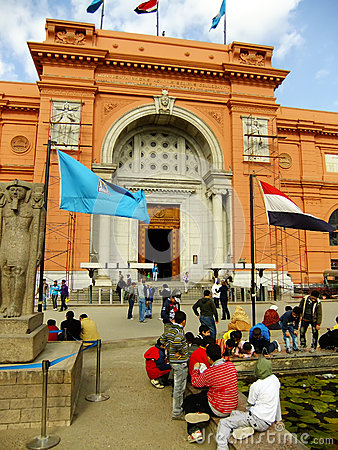 Tourists sitting by Egyptian museum, Cairo Editorial Photography