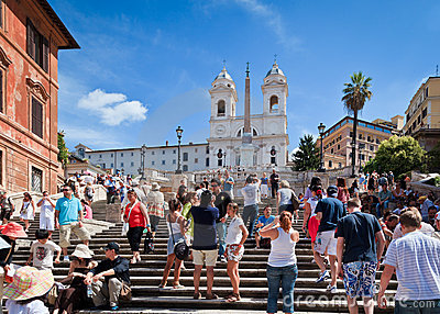 Tourists at the Spanish Steps, Rome, Italy Editorial Stock Photo