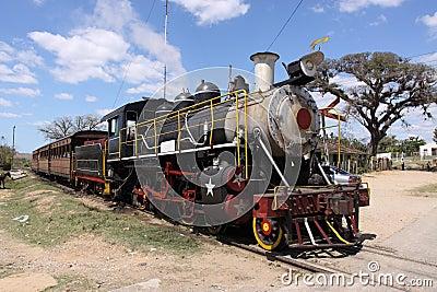 Tourists steam old train, cuba, trinidad