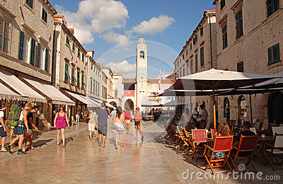 Tourists on Stradun street in Dubrovnik, Croatia Editorial Stock Photo