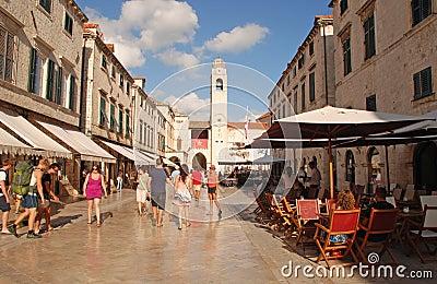 Tourists on Stradun street in Dubrovnik, Croatia Editorial Stock Photo