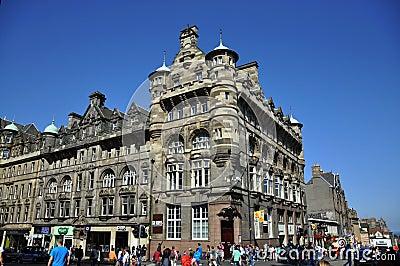 Tourists on the street of Edinburgh Editorial Photography