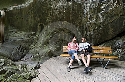 Tourists in Swiss Gorges
