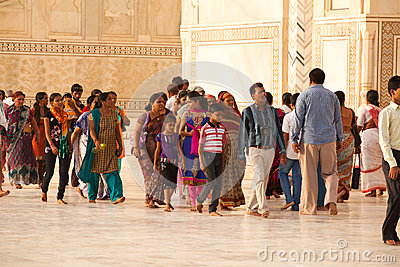 Tourists at the Taj Mahal Editorial Photo
