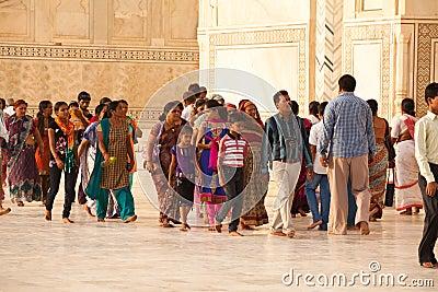 Tourists at the Taj Mahal Editorial Photo
