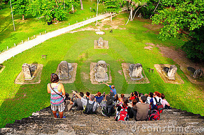 Tourists at Tikal, Guatemala Editorial Image